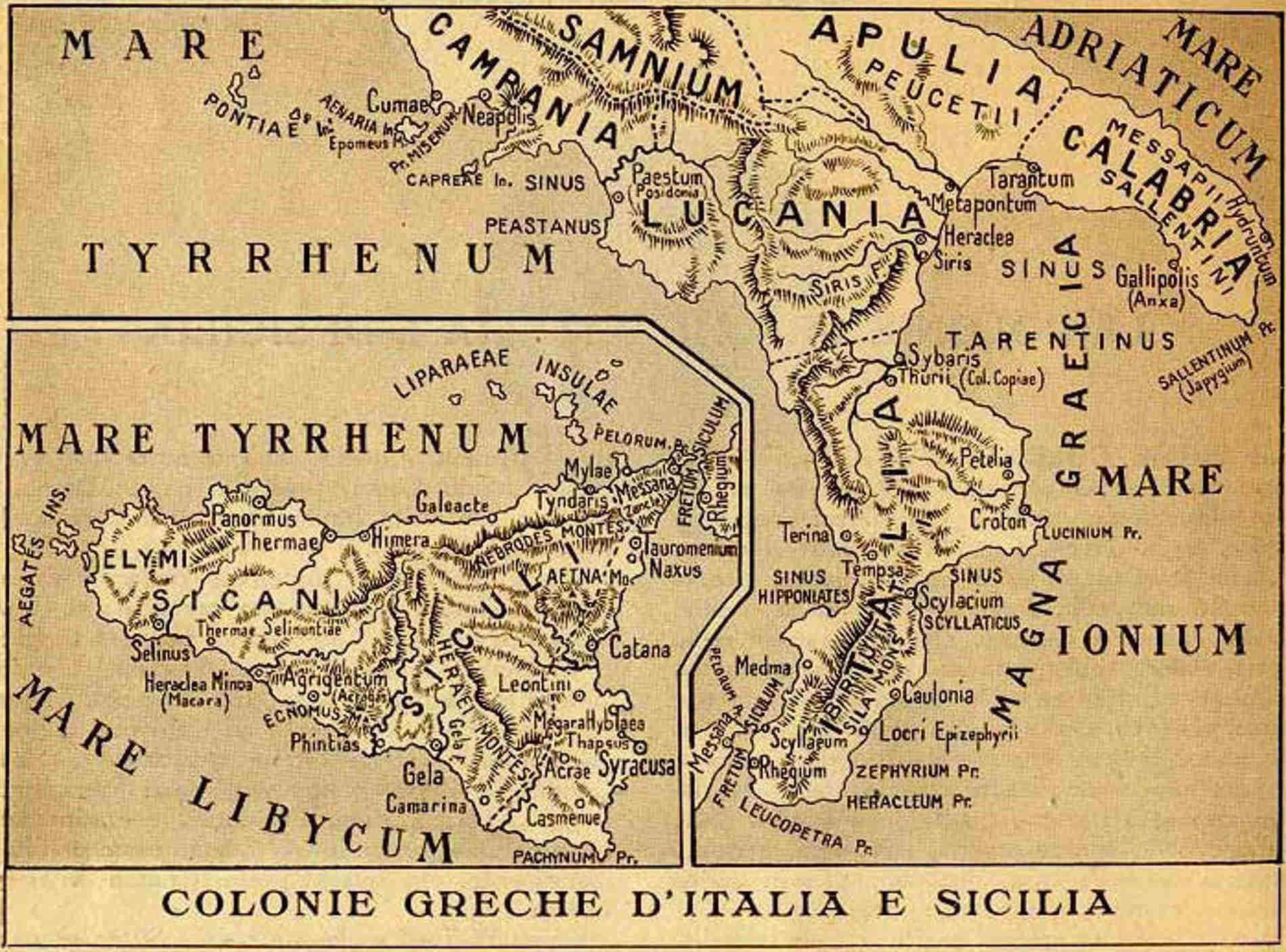 Antica Mappa della Calabria con il Parco Archeologico di Locri Epizefiri in provincia di reggio Calabria sulla Costa dei Gelsomini