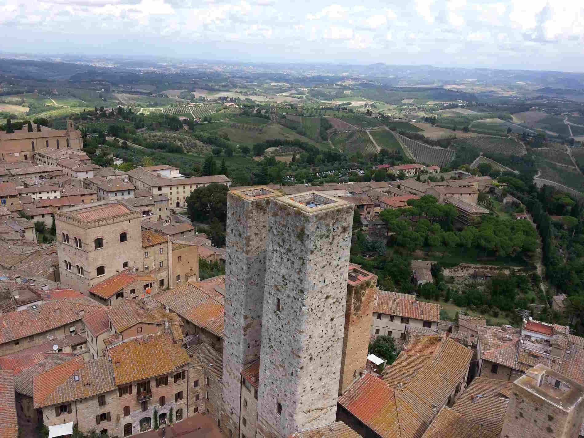 Paesaggi su San Gimignano dall'alto delle Torri . Spunti di Viaggio