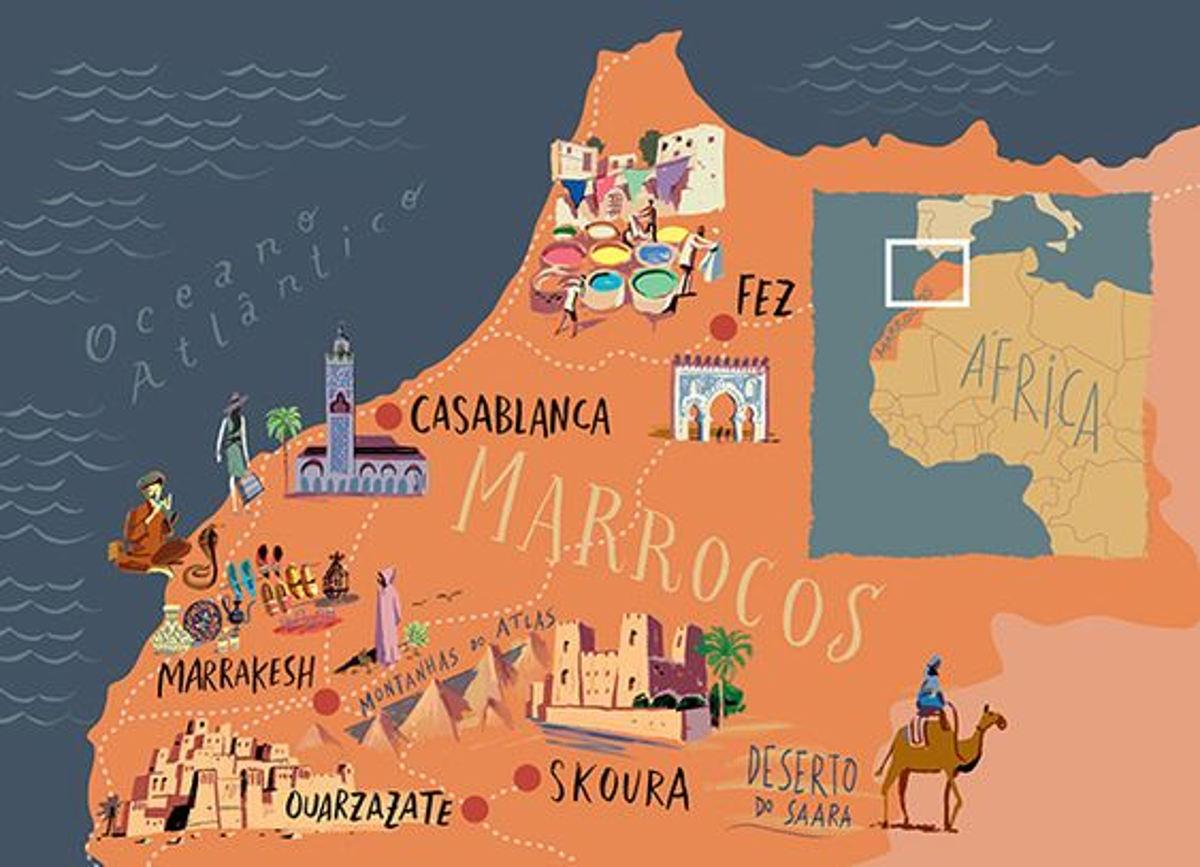 Viaggio in Marocco Mappa turistica del Marocco (fonte Pinterest)