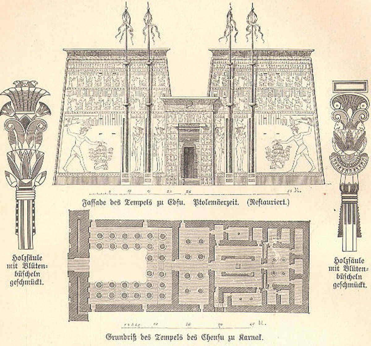 crociera sul fiume Nilo immagine e pianta del Tempio di Horus a Edfu- fonte web