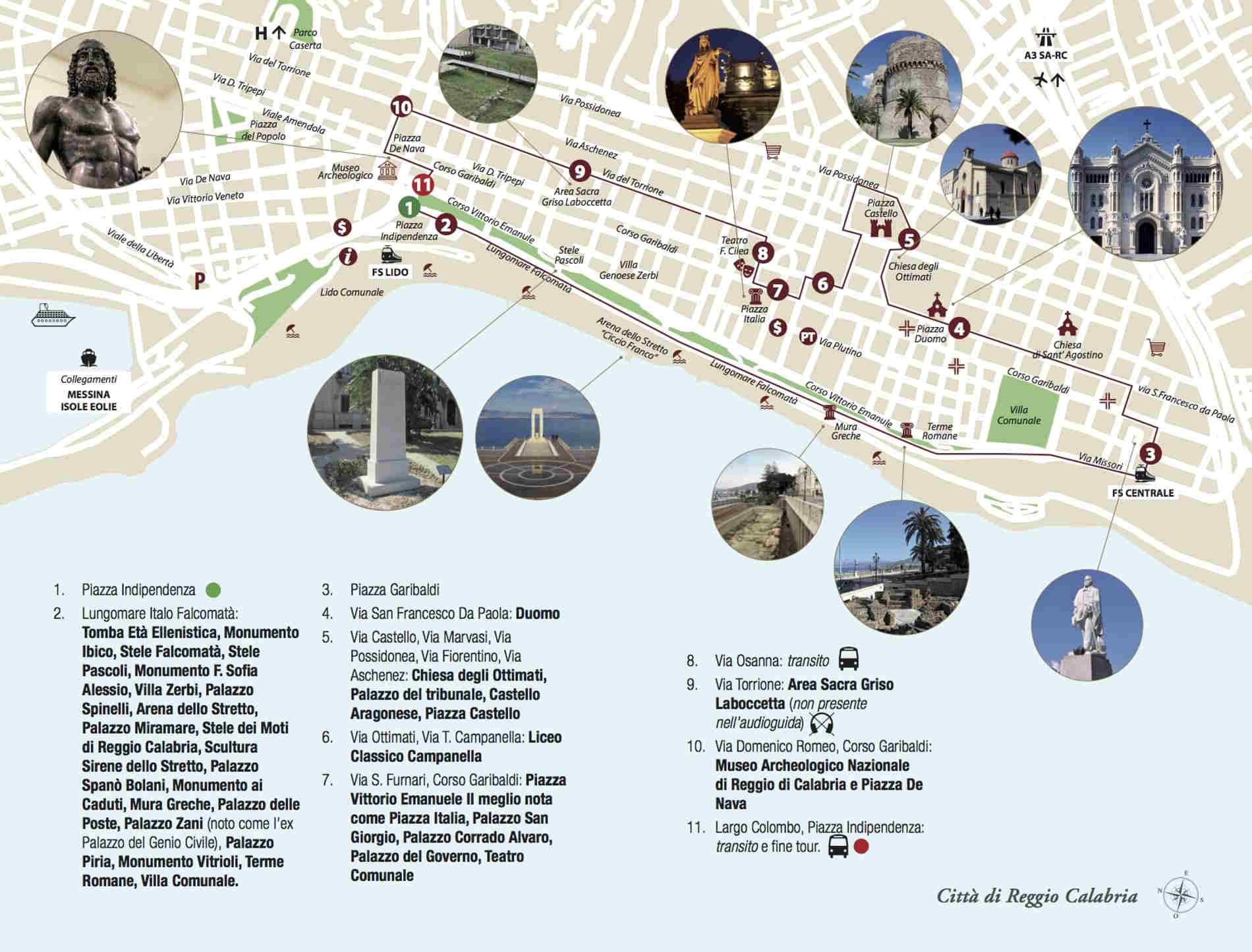 Lungomare Falcomatà di Reggio Calabria Mappa turistica del centro di Reggio Calabria fonte web