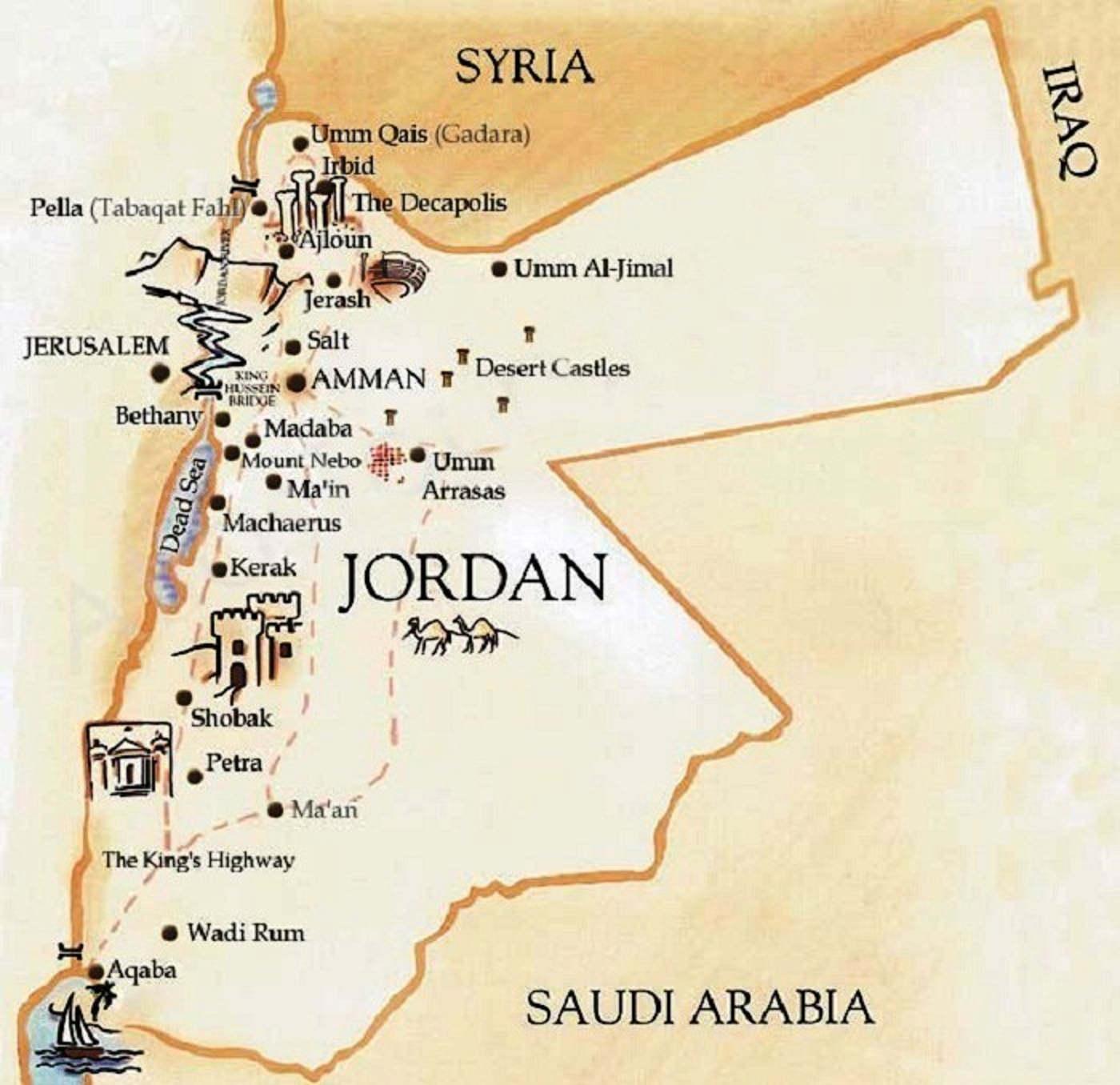 Cosa vedere ad Anman - Itinerario di Viaggio in Giordania mappa Jordan