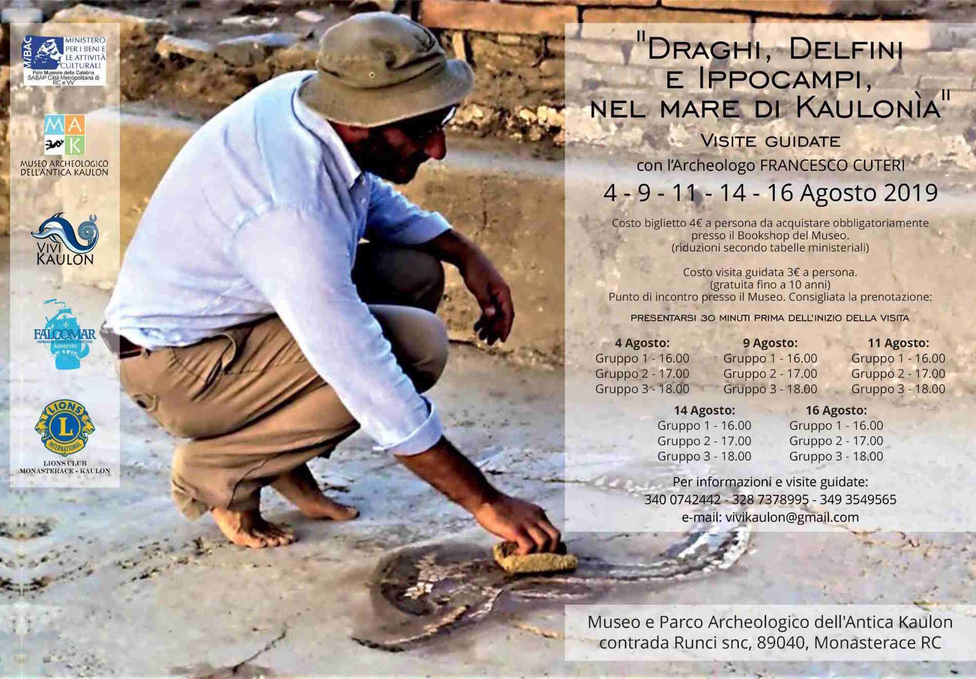 Museo e Parco archeologico di Monasterace locandina visite con l'archeologo prof. Francesco Cuteri