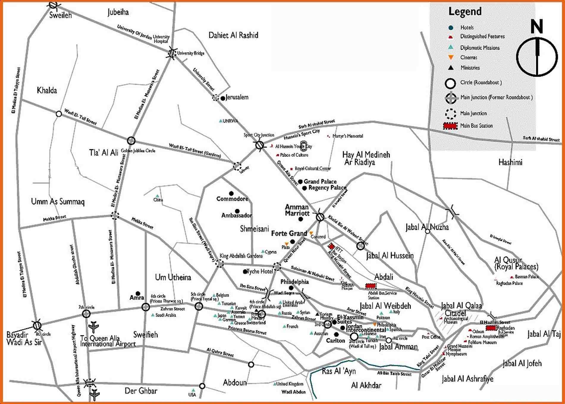Mappa turistica con localizzazione degli Hotel ad Amman