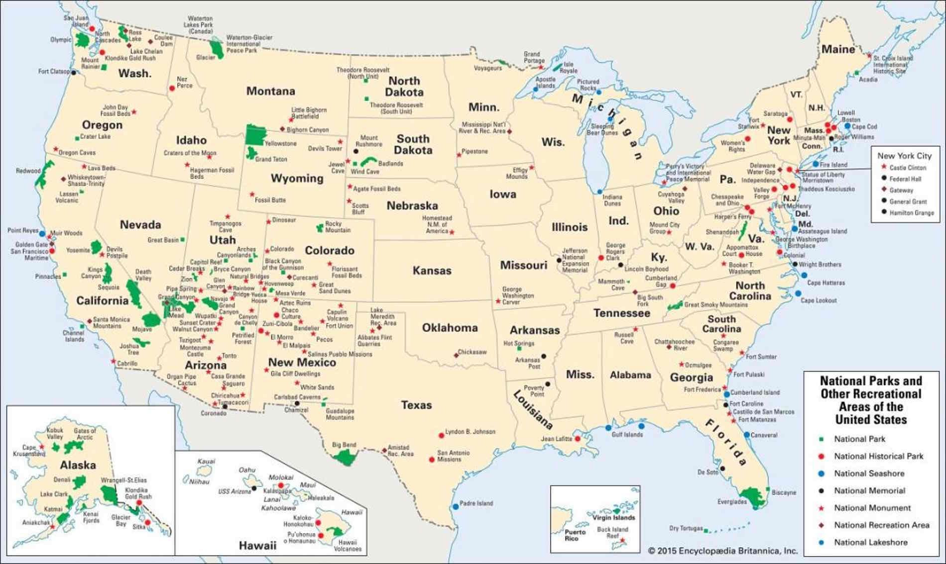 Mappa dei Parchi Nazionali Americani U.S.A. Stati Uniti d'America