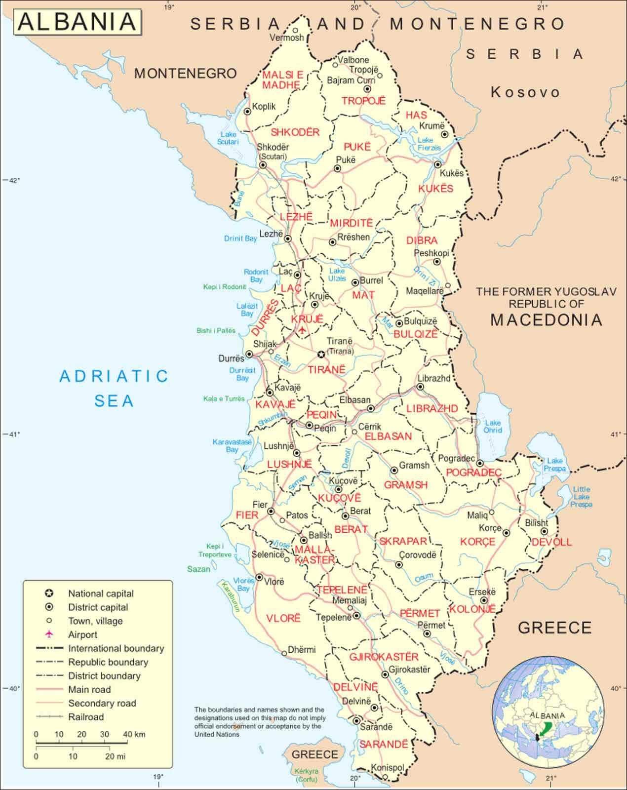 Mappa Paese Albania