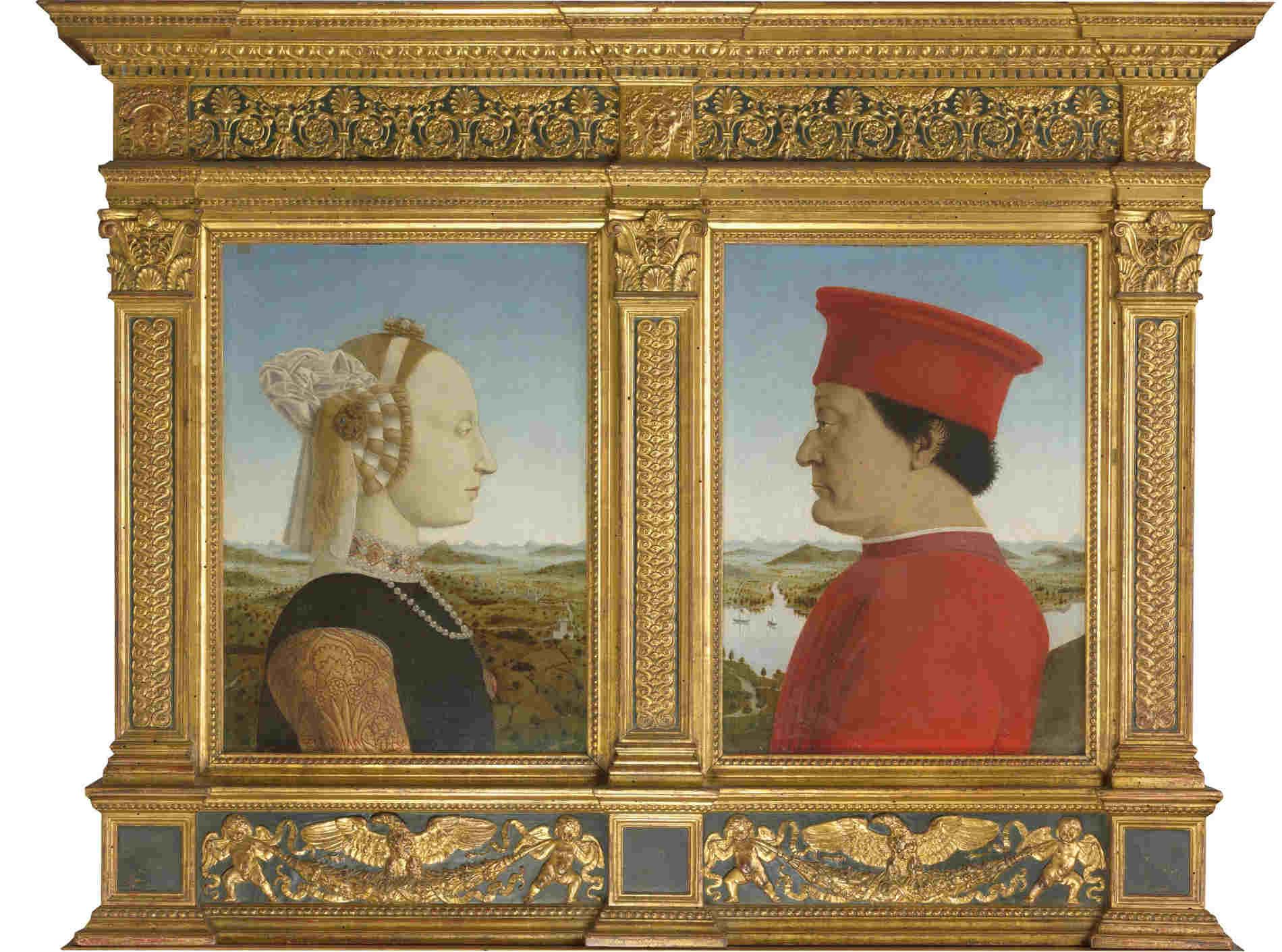 ritratto dei Duchi di Urbino di Piero della Francesca visita virtuale agli uffizi a Firenze