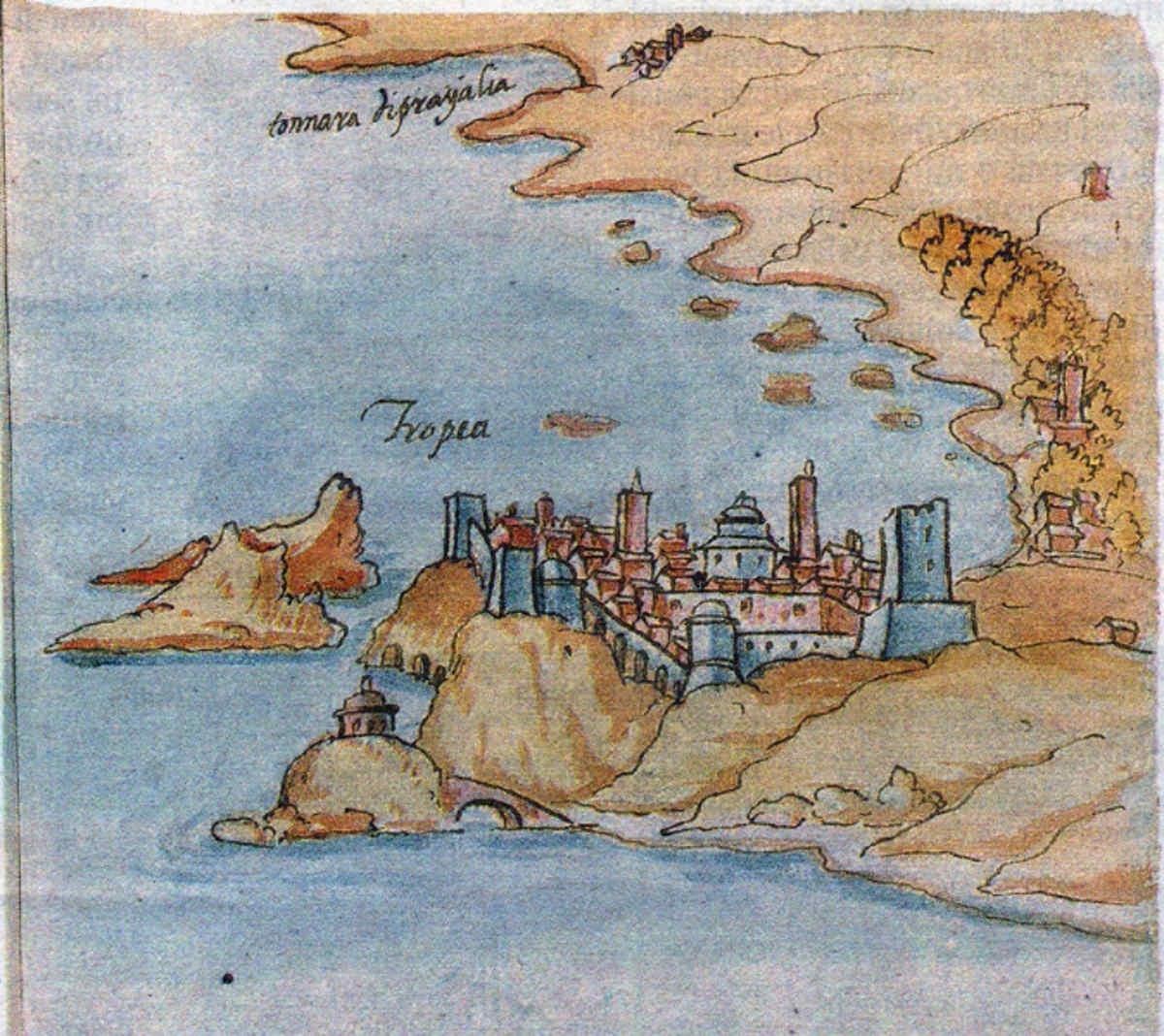 Scoprire e visitare Tropea antica - antico acquerello