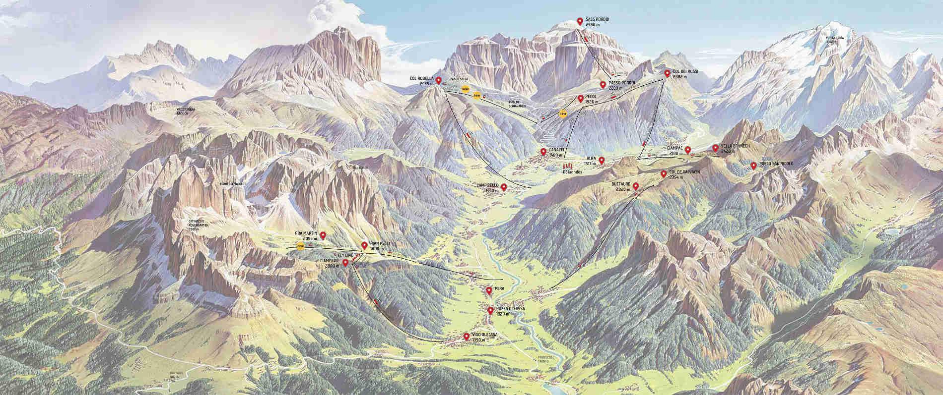 Mappa della Val di Fassa in modalità invernale (fonte sito ufficiale della Valle
