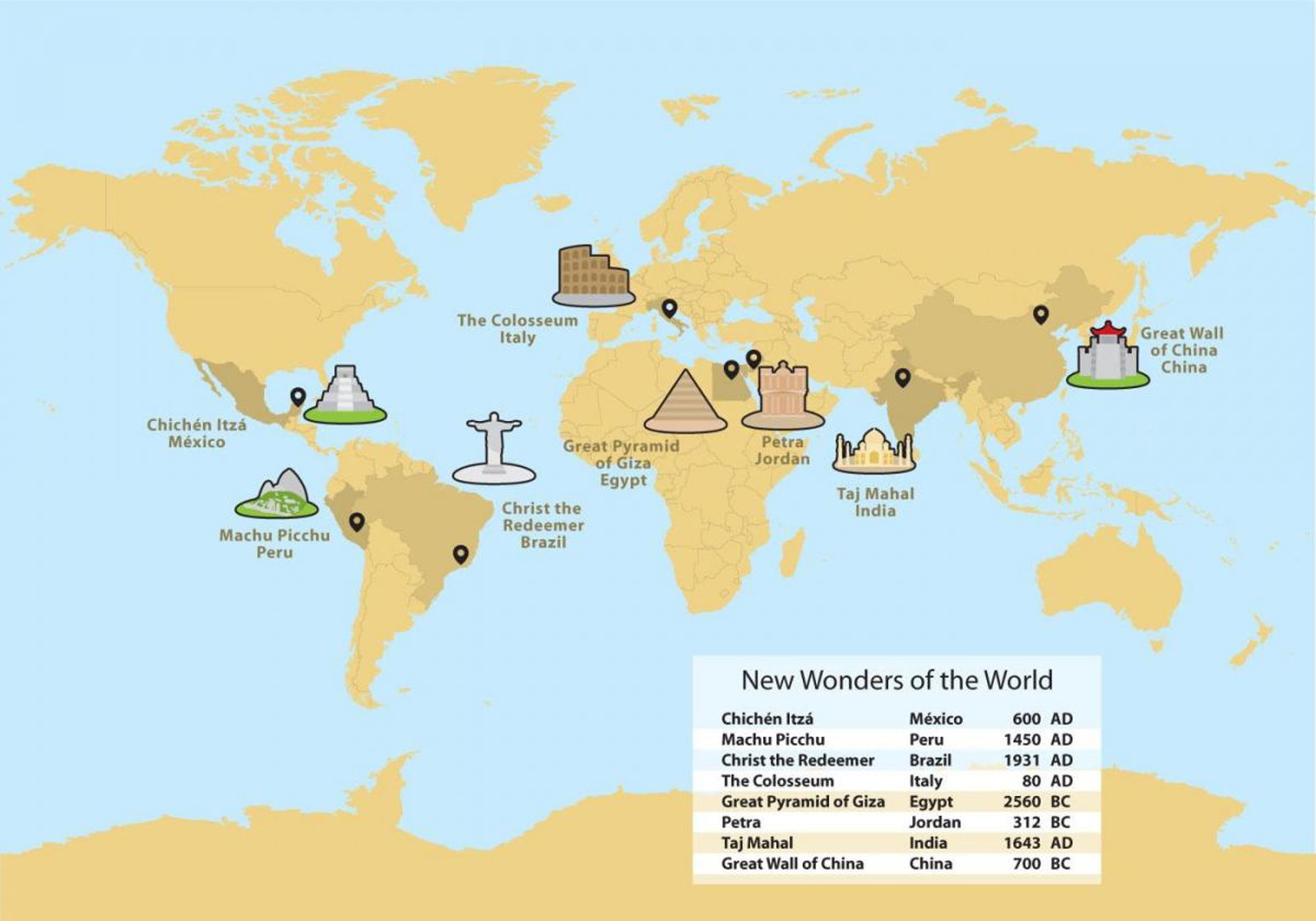 Mappa delle 7 Meraviglie del mondo moderno - localizzazione
