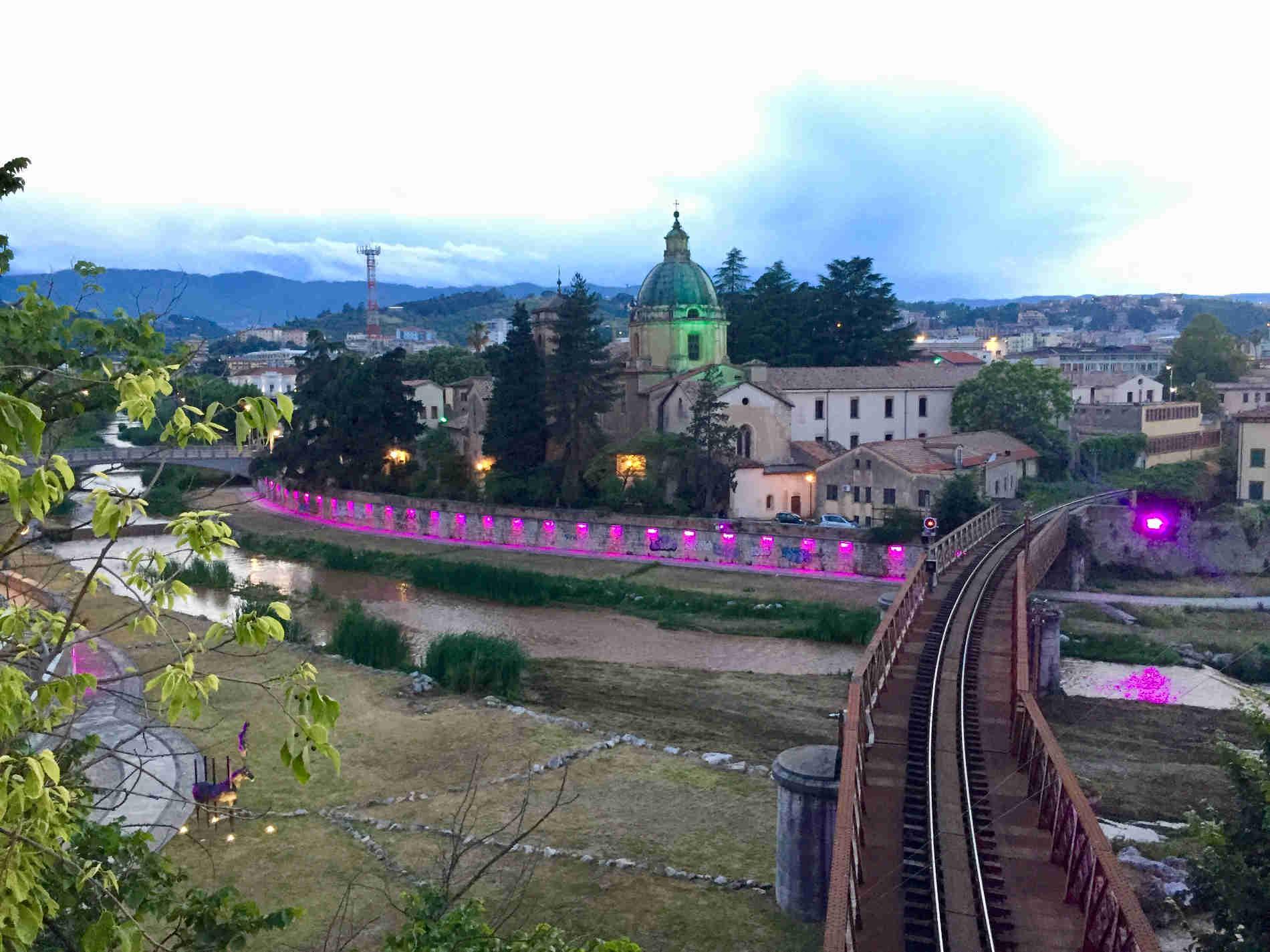 Confluenza fra Crati e Busento nel centro storico di Cosenza