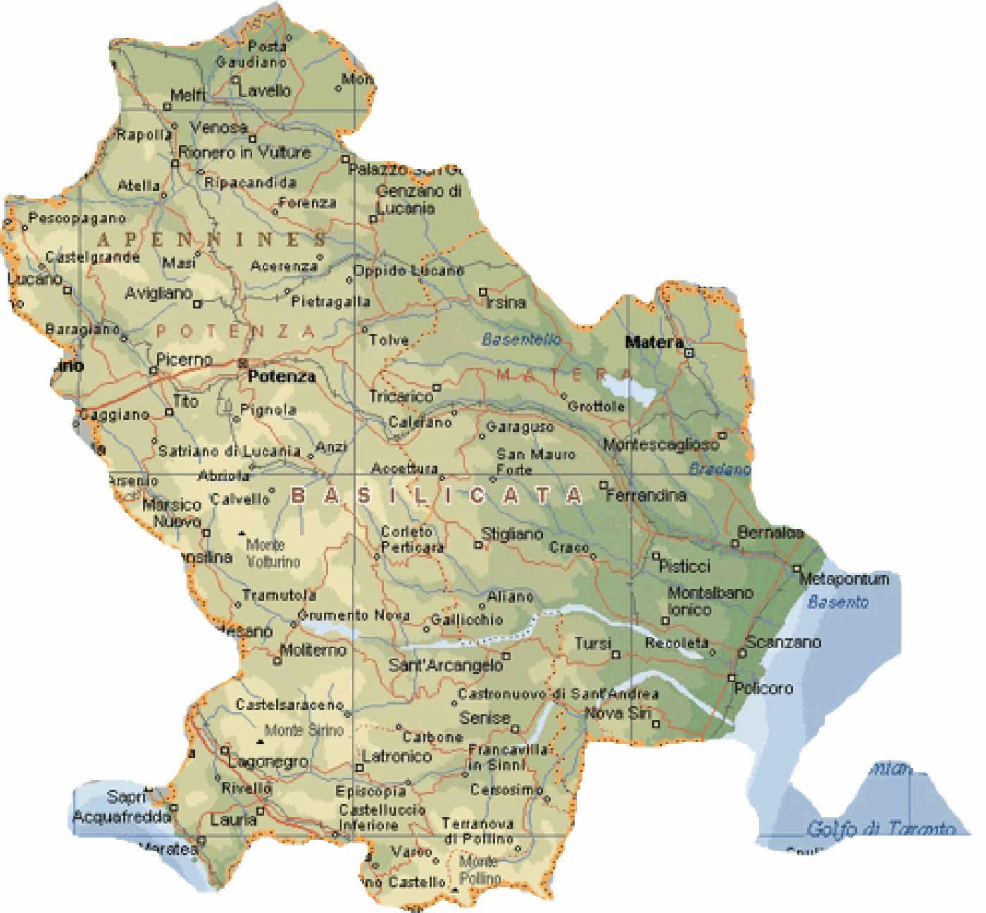 cartina geografica fisica della Regione Basilicata Matera e Potenza