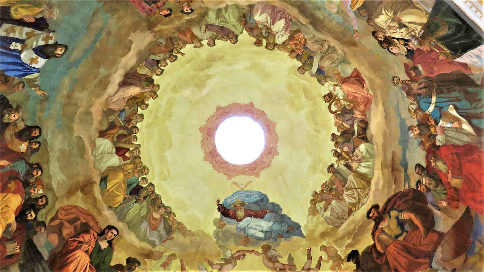 Particolari della Cupola affrescata nella cappella di Sant'Agostino