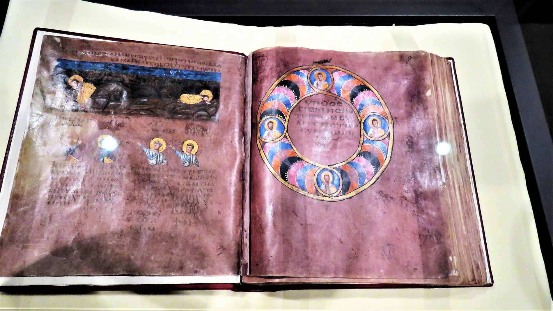 Pagine del Codex Purpureus Rossanensis a Rossano Memory of the world UNESCO