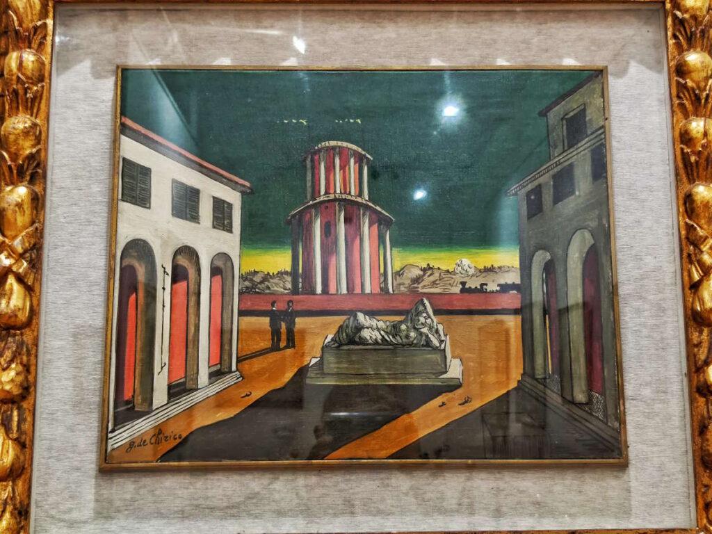 Il dipinto Piazza Italia di Giorgio De Chirico, opera confiscata al Palazzo della cultura di Reggio Calabria