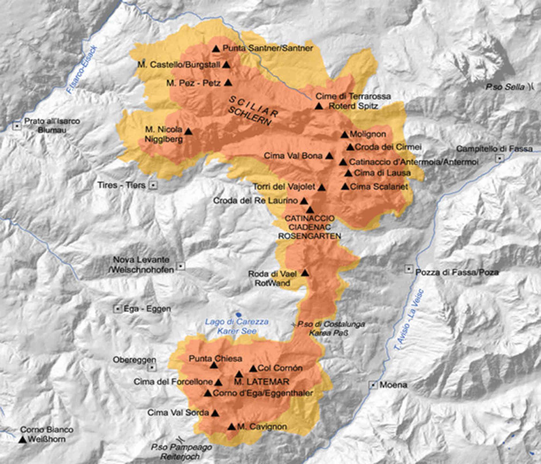 mappa del Parco Naturale dello Sciliar-Catinaccio