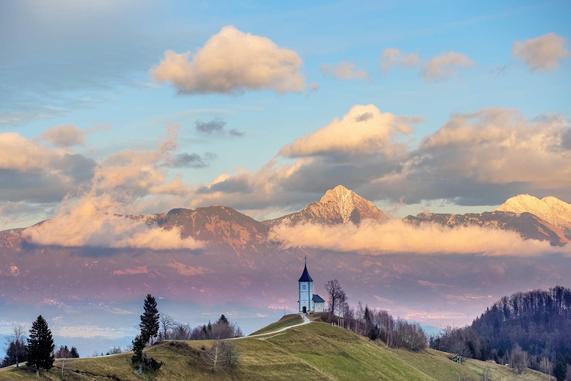 Panorami nella zona di Jamnik in Slovenia