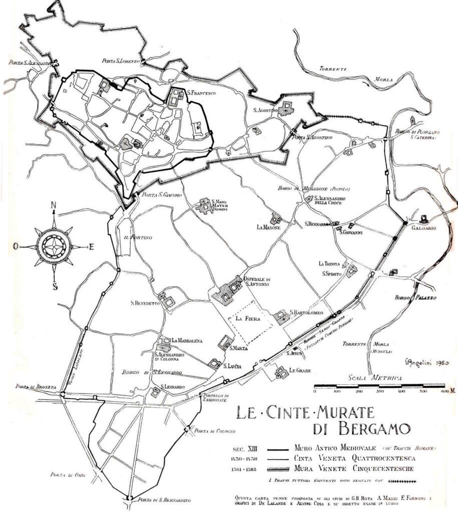 Mappa del 1952 delle Mura di Città Alta a Bergamo cose da sapere e vedere