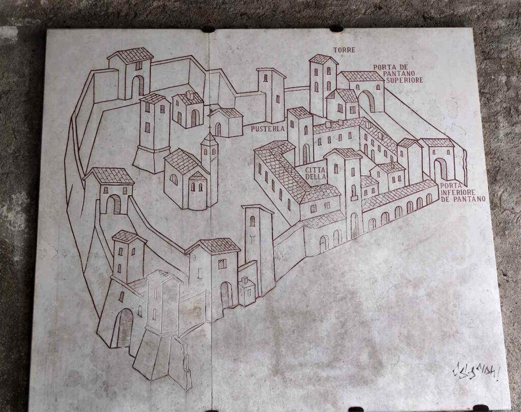 Una Mappa di Città Alta Bergamo sulle mura venete